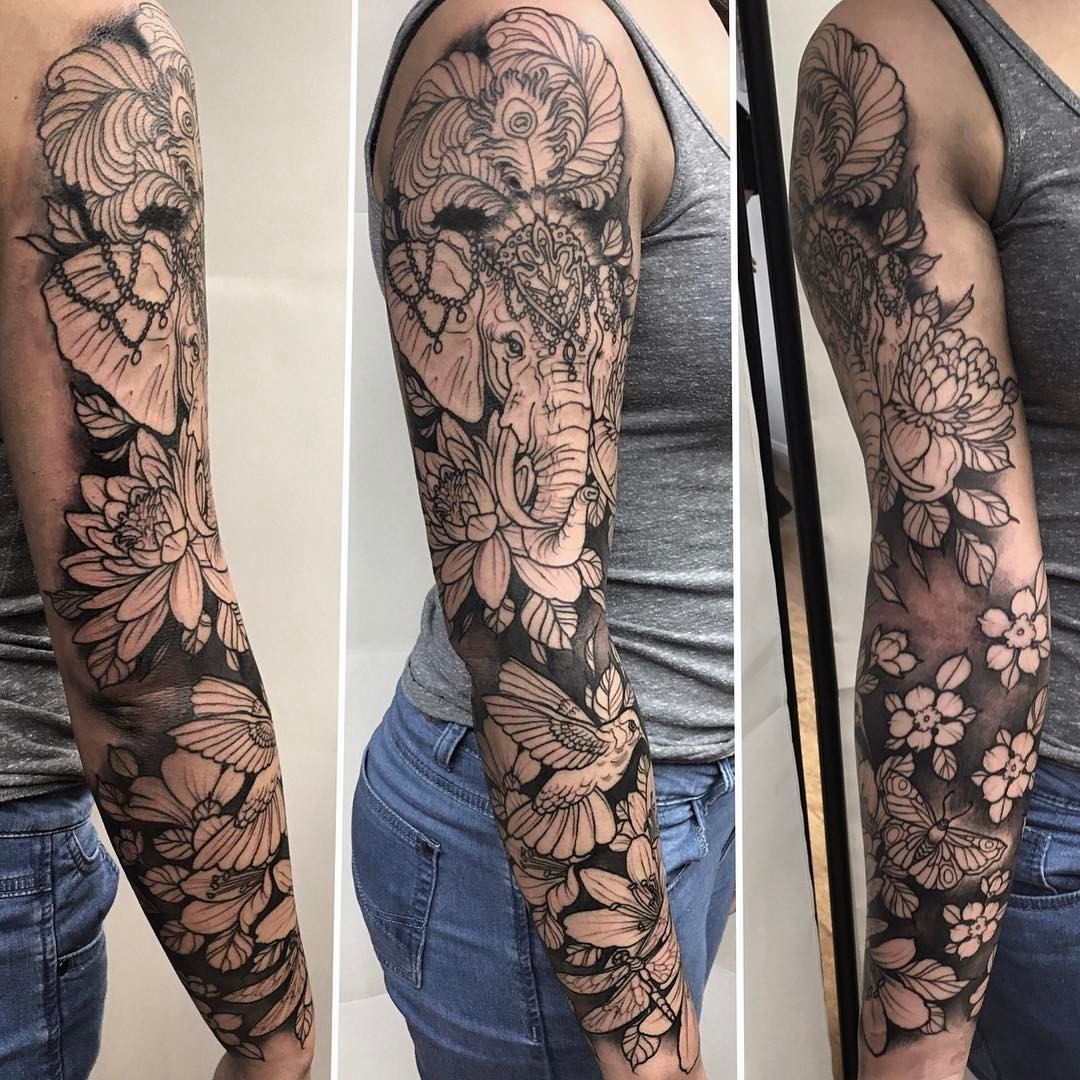 123 Likes 2 Comments Rob Steele Robsteeletattoos On Instagram Sarah Bossed All The Outline And Sleeve Tattoos Sleeve Tattoos For Women Elephant Tattoos