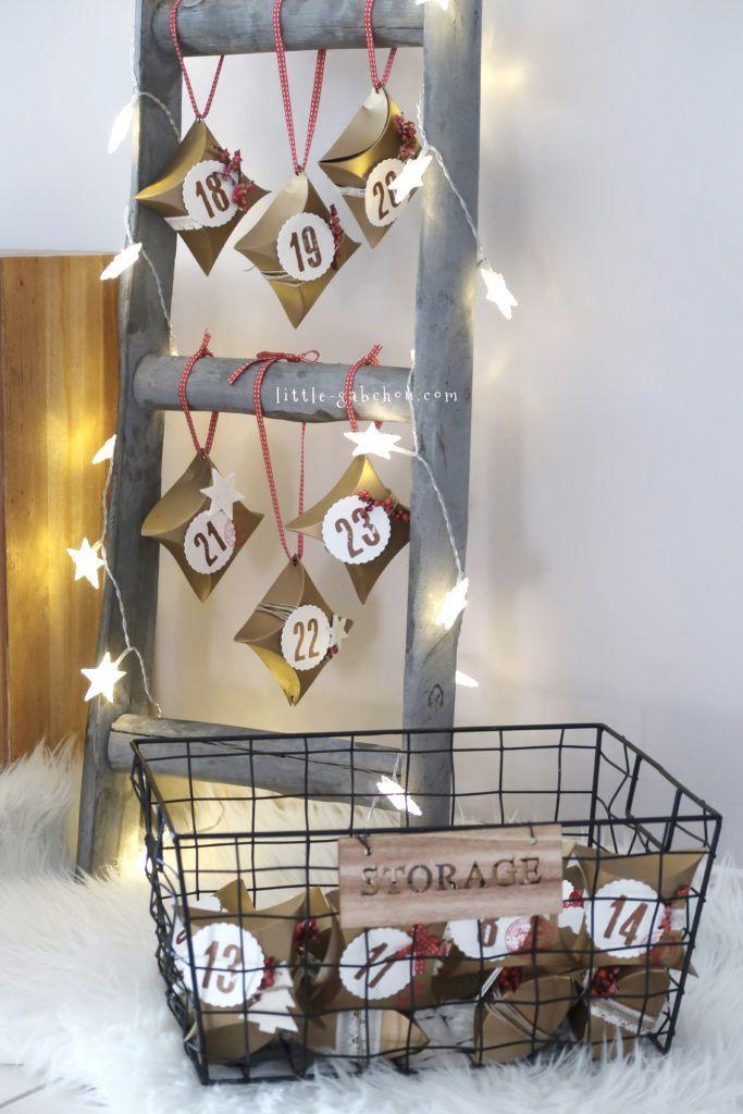 [DIY] Le calendrier de l'Avent original dans l'esprit rustique #calendrierdelaventfaitmaisonfacile Tuto pour réaliser un calendrier de l'Avent maison facile et original suspendu sur une échelle rustique pour un Noël chaleureux!