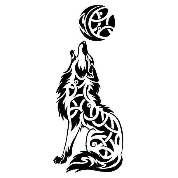 Celtic Wolf Howling At The Moon Tattoo Design Wlfe Pinterest Lobos Tinta Y Celta