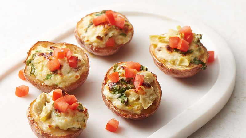 If potato skins and spinach-artichoke dip had a beautiful baby, this would be it. Cute baby red potatoes make perfect appetizer-sized potato skins, and what's not to love about having your own personal-sized dip?