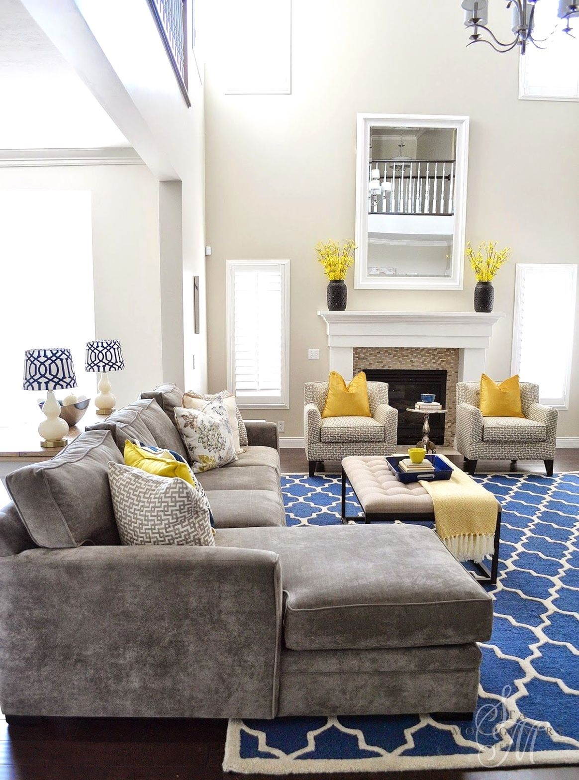 13 Indescribable Sunken Living Room Remodel Awesome Ideas Yellow Decor Living Room Grey And Yellow Living Room Yellow Living Room