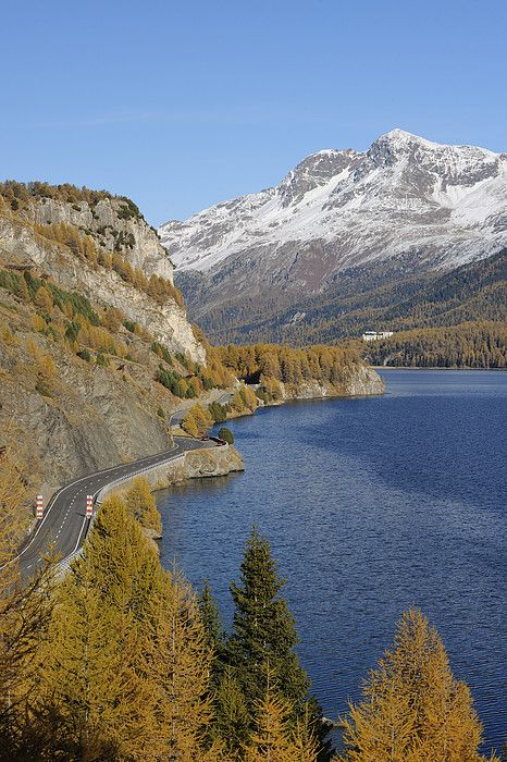 Road along Lake Sils in Autumn, Piz Surlej n Munt Arlas, St Moritz, Maloja District, Engadin, Graubunden_ Switzerland