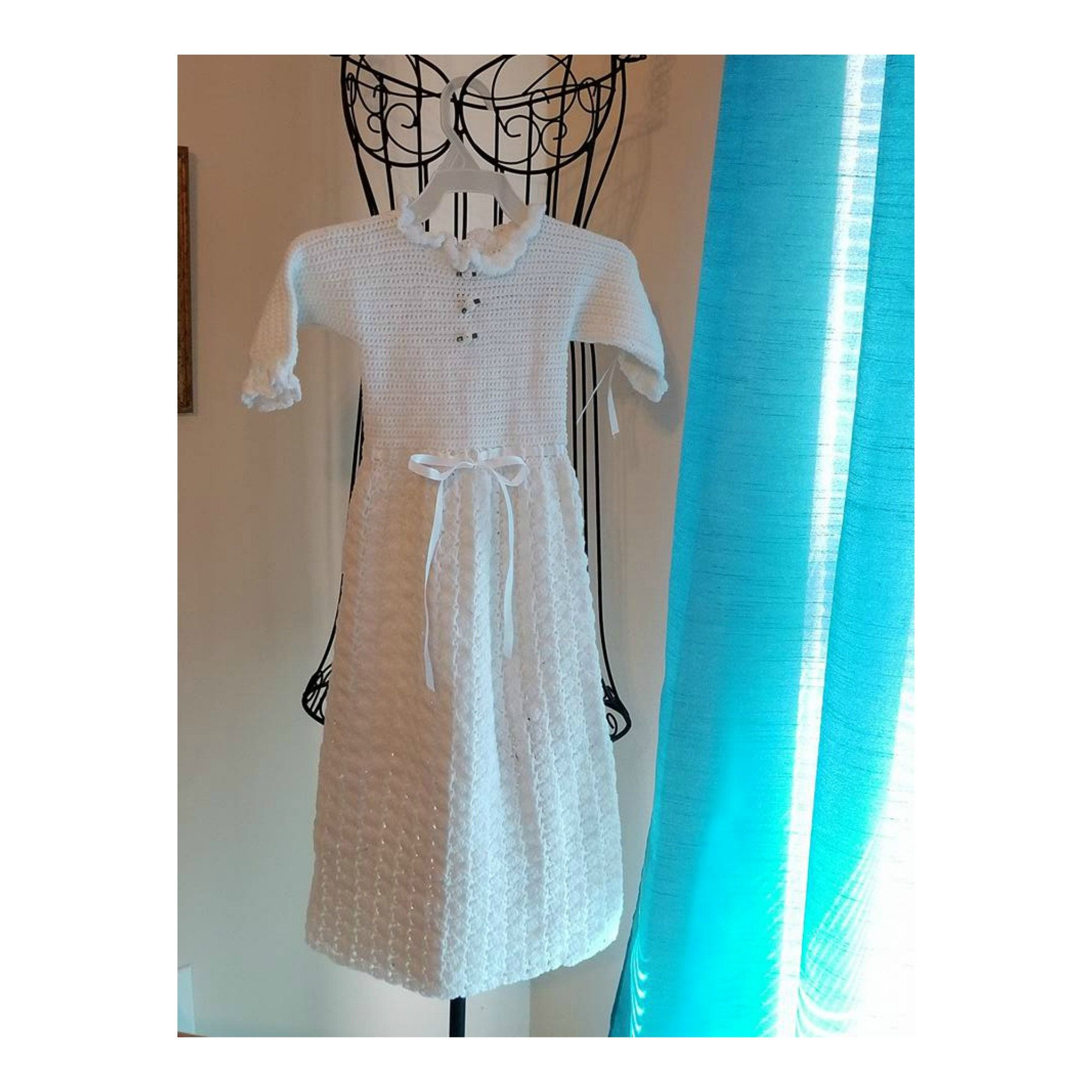 Vintage Crocheted Baby Dress Christening Gown Crocheted Baby Gown