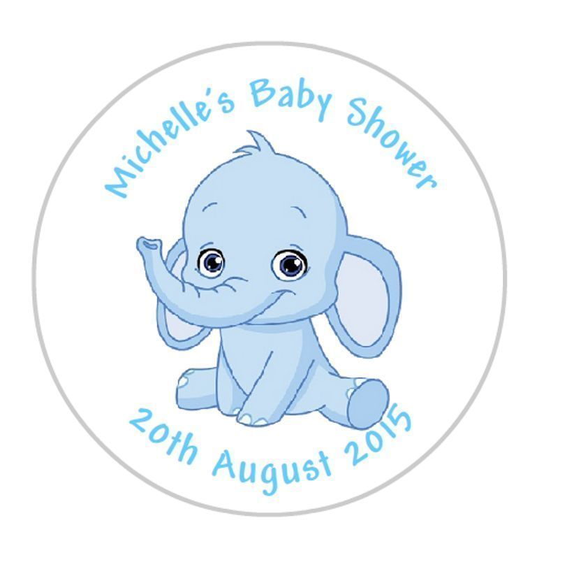 £1 4 gbp 24 personalised round baby shower stickers labels blue elephant ebay home garden