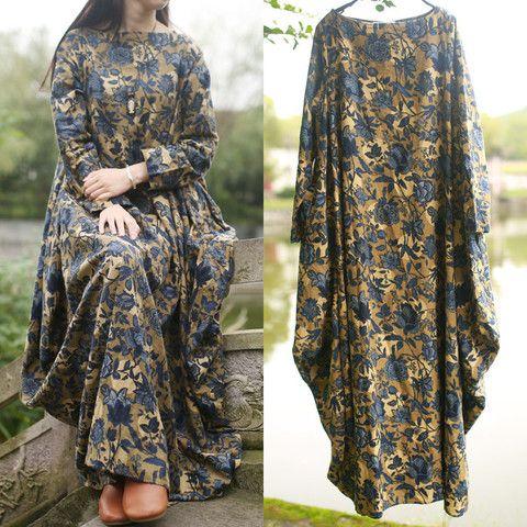 Les femmes coton robe imprimée en lin