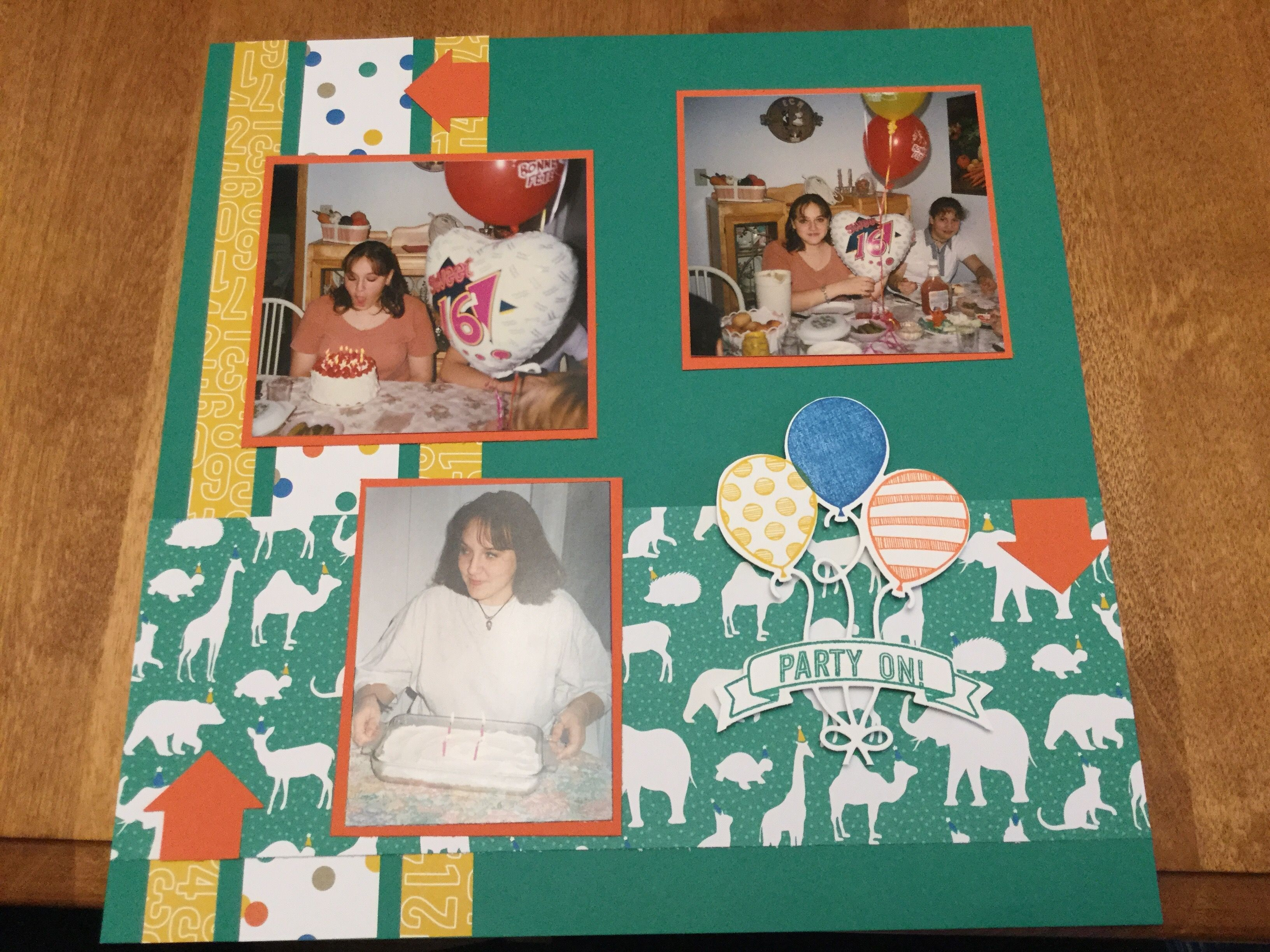 Scrapbook ideas pop up - Scrapbook Page Using Stampin Up Balloon Adventures Stamps Party Animal Designer Paper And Balloon Pop Up Thinlits Dies