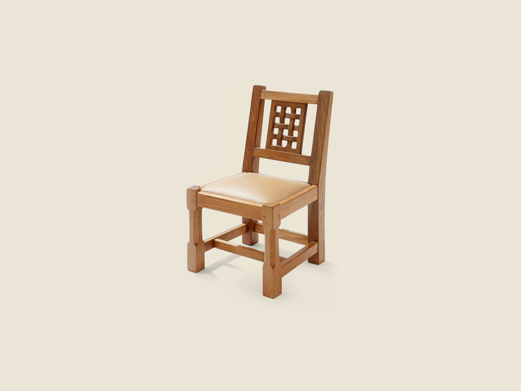 Solid Oak Miniature Lattice Back Chair