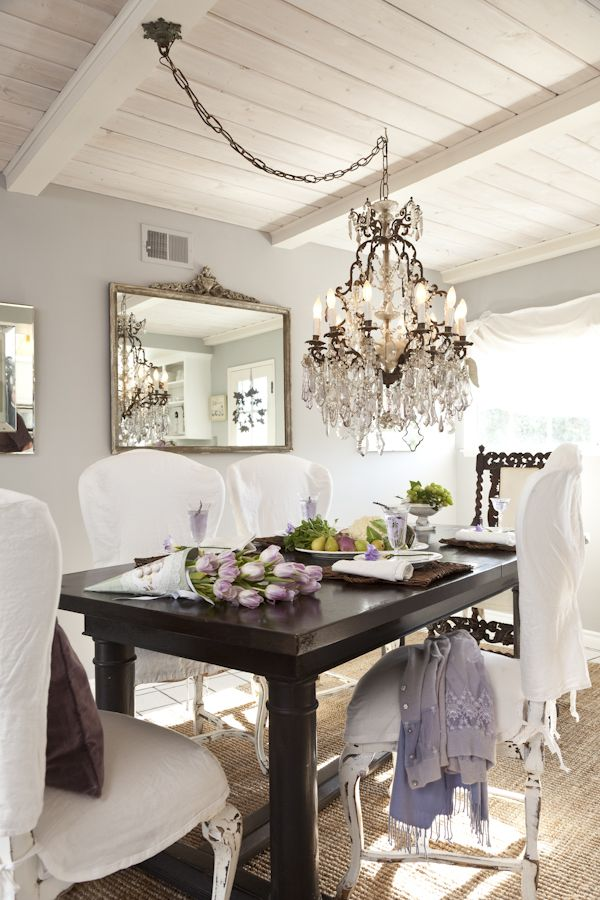 Sharp Amusing White Dining Room And Chandelier