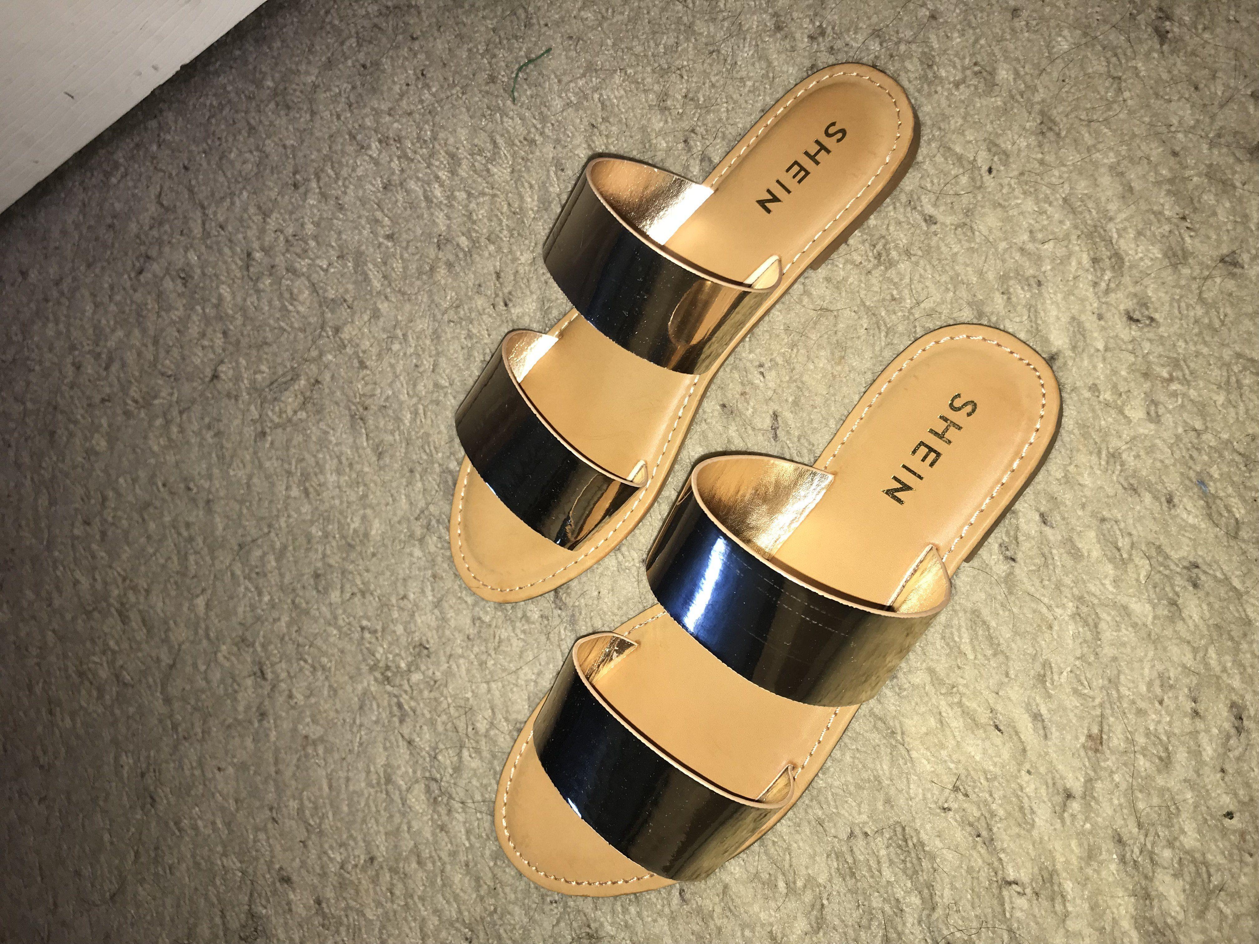 bcbfca487e35 Casual Peep Toe Gold Low Heel Metallic Duo Strap Sandals GOLD ...