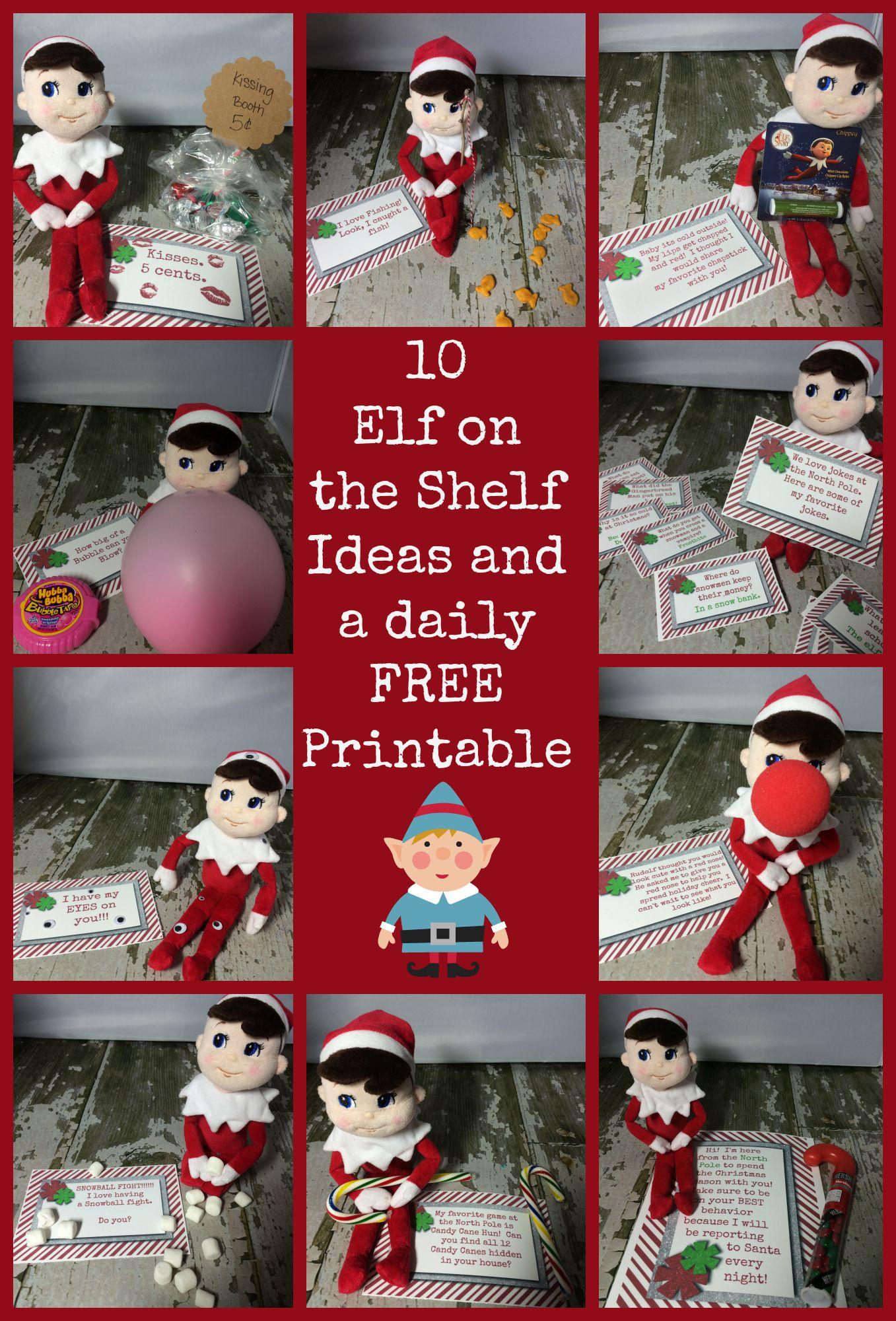 10 Easy Elf On A Shelf Ideas and a daily FREE Elf on the Shelf Christmas