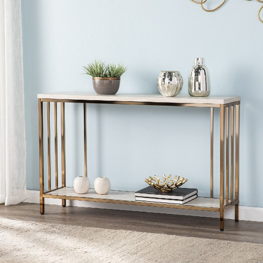 Brexlyn Faux Stone Console Table Southern Enterprises Cm0063 In 2021 Marble Console Table Console Table Ashley Furniture