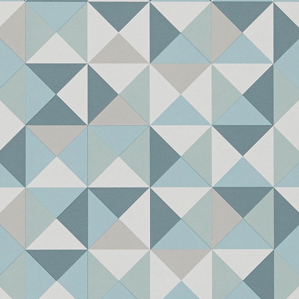Papier peint ACAPULCO, vinyle sur intissé motif géométrique, vert deau