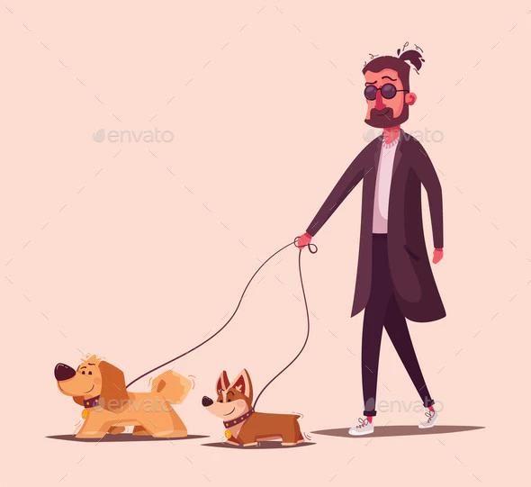 Man Walking With A Dog Cartoon Vector Cartoon Dog Cartoons Vector Illustration Character Design