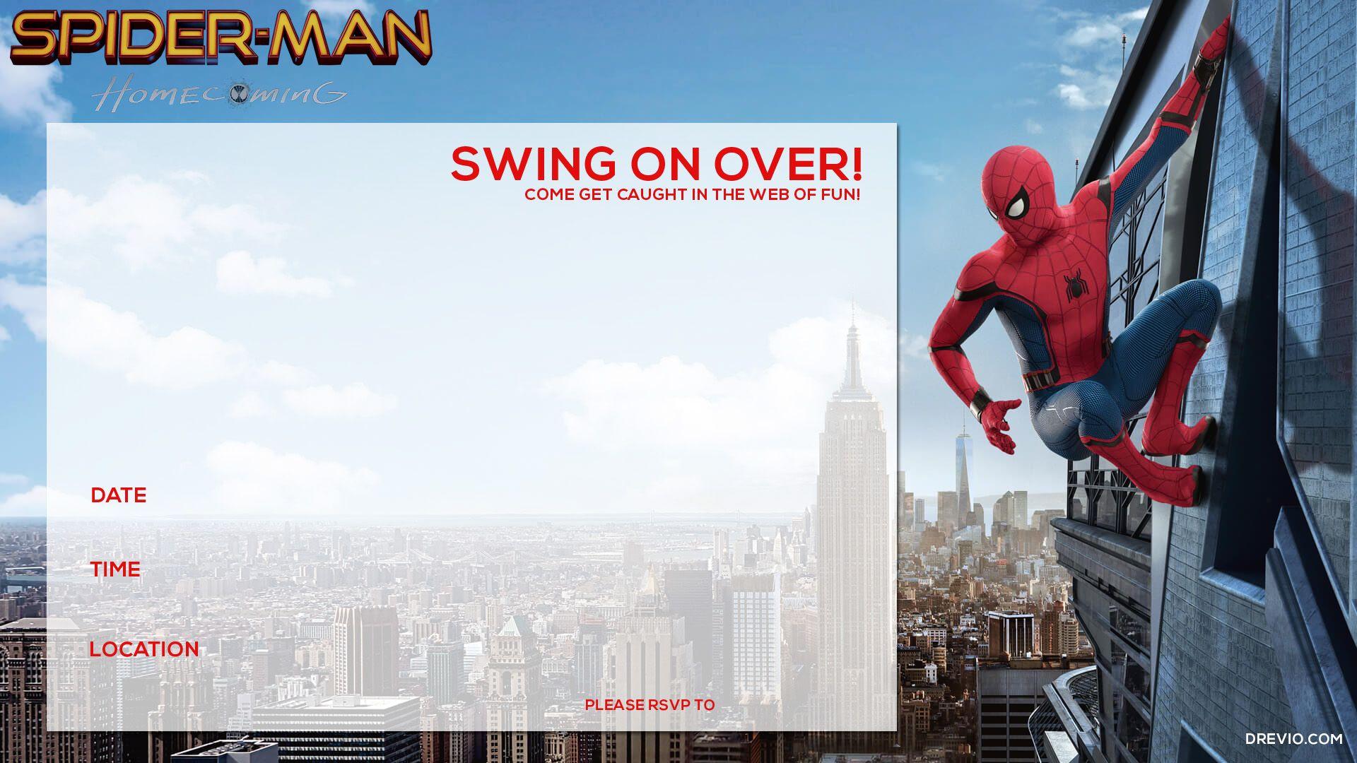Free Printable Spiderman Homecoming Birthday Invitation