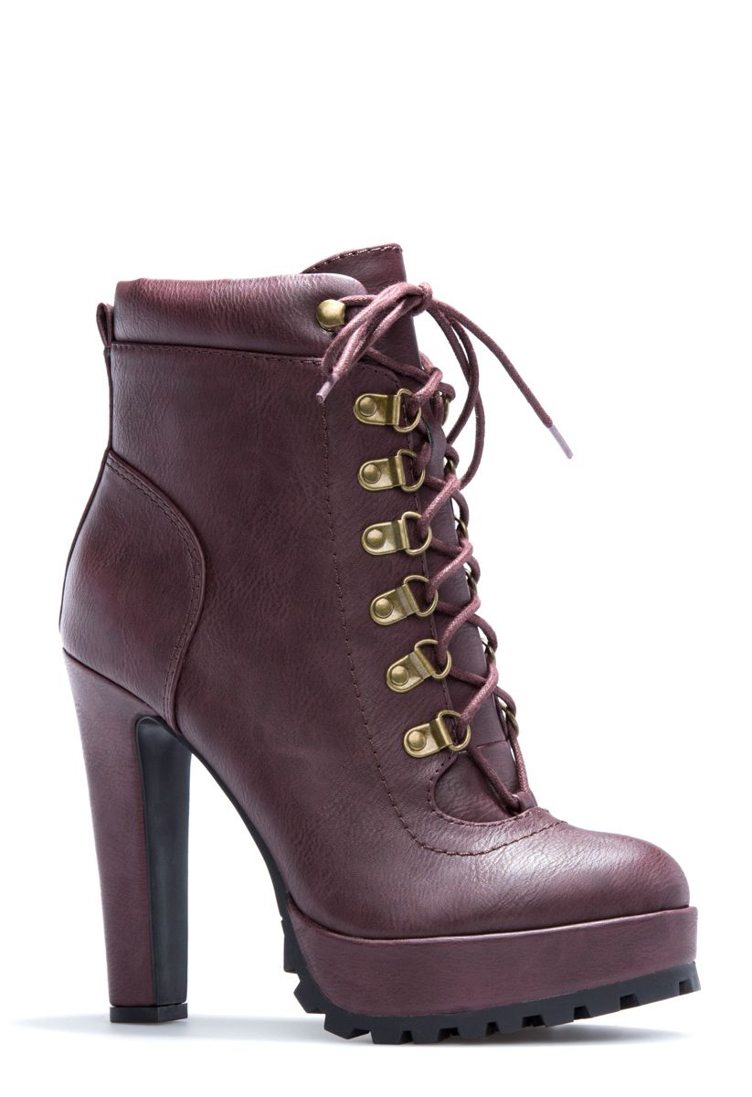 8e82c3abb5c Aziza will kick your look up a few notches on the edgy scale. This  moto-inspired bootie features adjustable lace-ups and a treaded-platform  sole for height ...