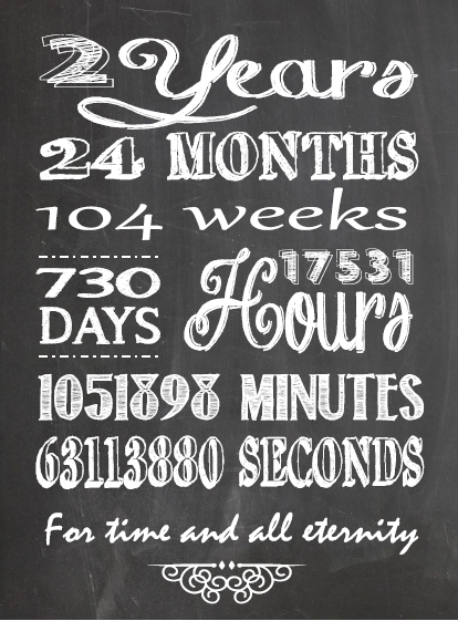 The Willis Family 2 Year Anniversary Chalkboard Printable Mas
