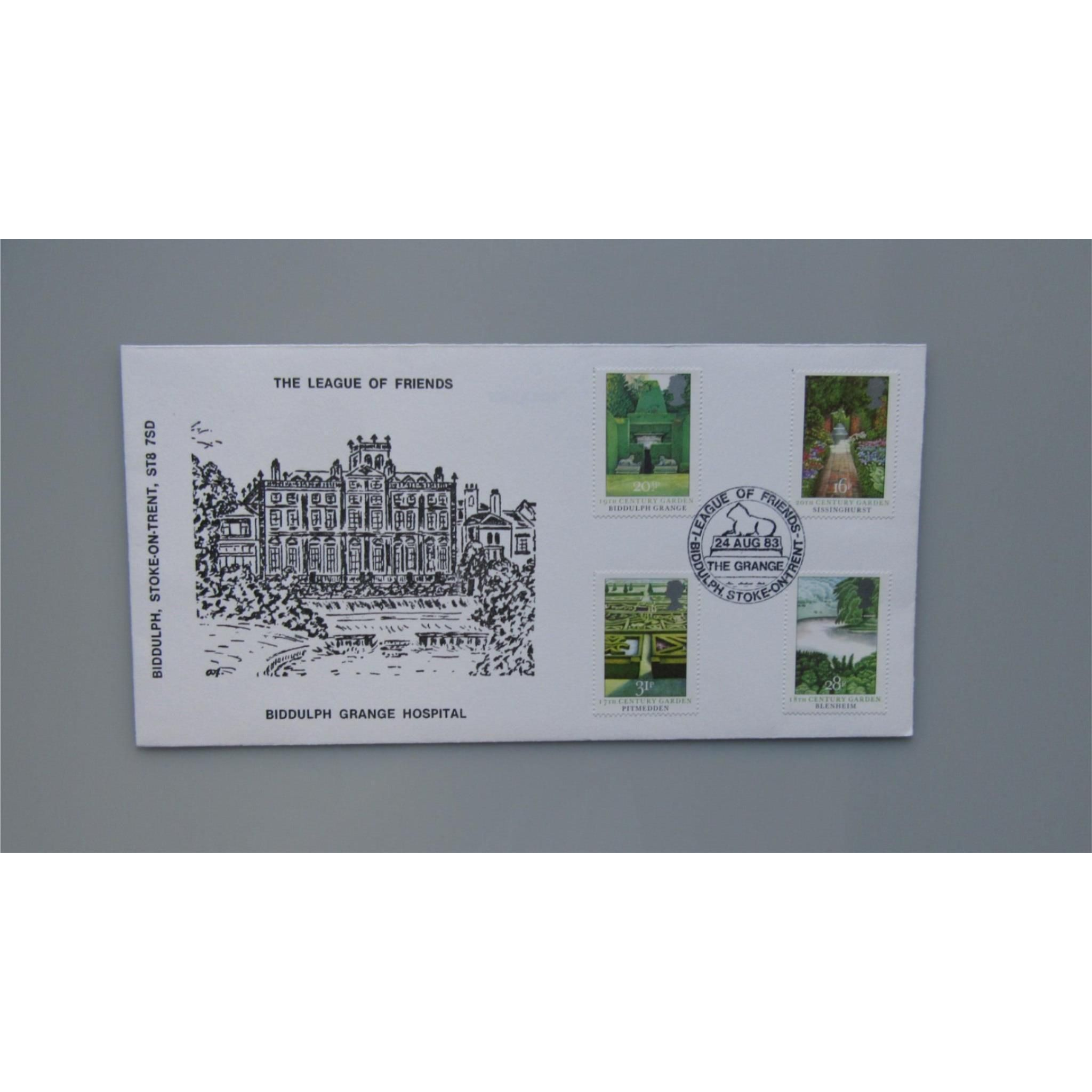 1983 G.B Official FDC British Gardens PM League of Friends, The Grange, Biddulph  #stampcollecting #philately #collector #hobbies #ukcoverlover #postagestamps