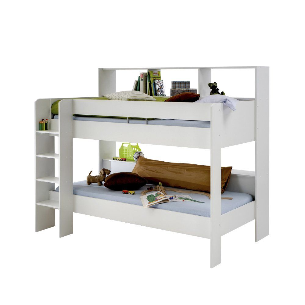 Emili White Loft Mid Sleeper Cabin Bed With Hideaway Computer Desk And Storage Cupboard For Kids Rooms Amazon Co Uk Kitchen Home White Bunk Beds Bed Bunks