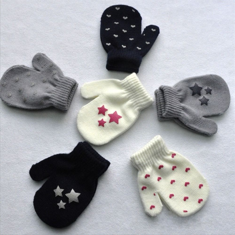 White, Blue, Gray Kids Dot Star Heart Pattern Mittens Boys Girls Soft Knitting Warm Gloves Fashion