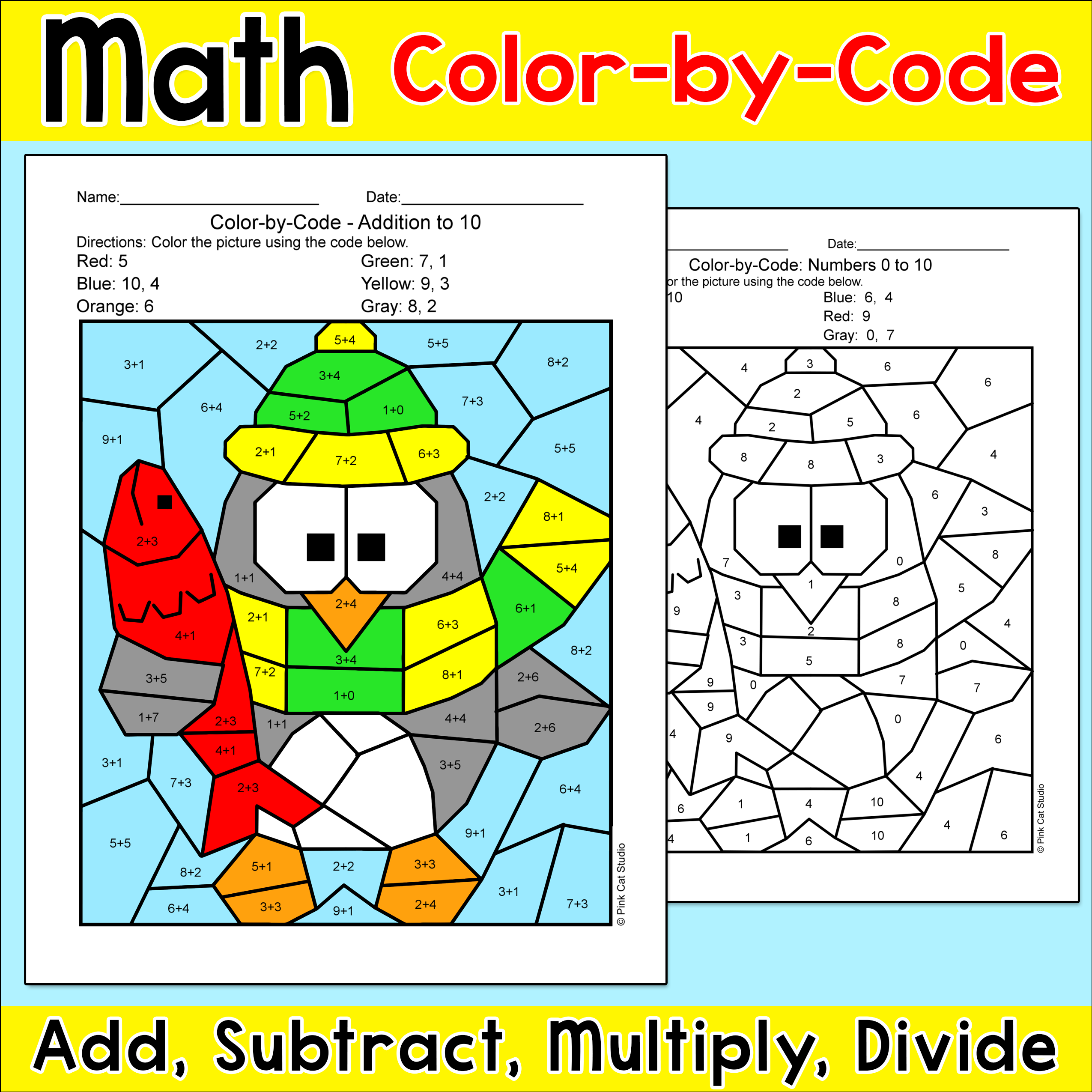 Addition and Subtraction Coloring Bundle: Mother\'s Day & Spring Math ...