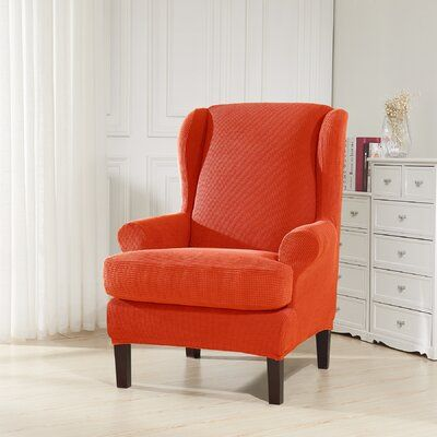 Red Barrel Studio Jacquard Spandex Stretch T Cushion Wingback Chair Slipcover Colour Orange In 2020 Slipcovers For Chairs Wingback Chair Slipcovers Wingback Chair