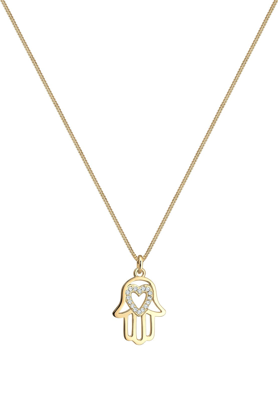 Hervir Vacío invadir  Lovely gold plated Elli necklace with Hamsa Hand/Hand of Fatima and with a  sparkling heart | 목걸이