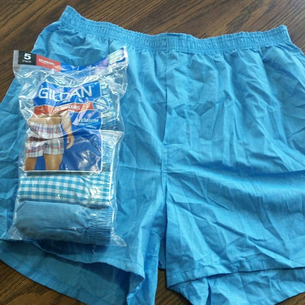 cff247661b2f Gildan Mens Underwear Size XL Fit 40-42 5 Pair Blue White Boxers Shorts  #Gildan #Boxer