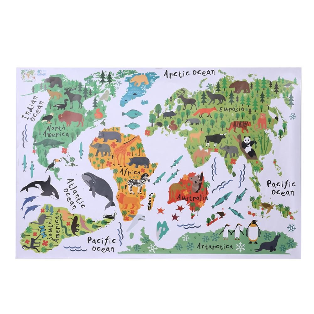 Removable animal world map wall stickers home bedroom background removable animal world map wall stickers home bedroom background wall decoration multicolor waterproof pvc wall sticker gumiabroncs Image collections