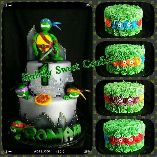 Teenage Mutant Ninja Turtles Theme Birthday Cake With Smash Cake Ninja Birthday Turtle Party Ninja Turtle Birthday