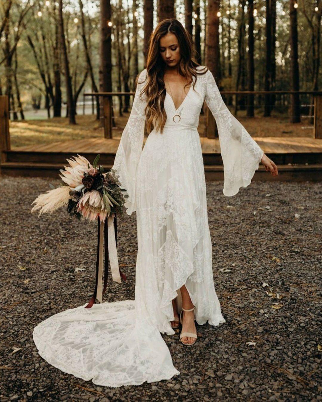 30 Boho Wedding Dresses Of Your Dream Wedding Dresses Lace Wedding Dress Long Sleeve Wedding Dresses [ 1350 x 1080 Pixel ]