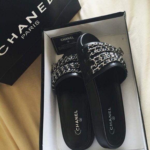 1ec01df60d391 Chanel Chain Slides Brand new inspired Chanel chain slides. Lining  Material  Sheepskin Upper material