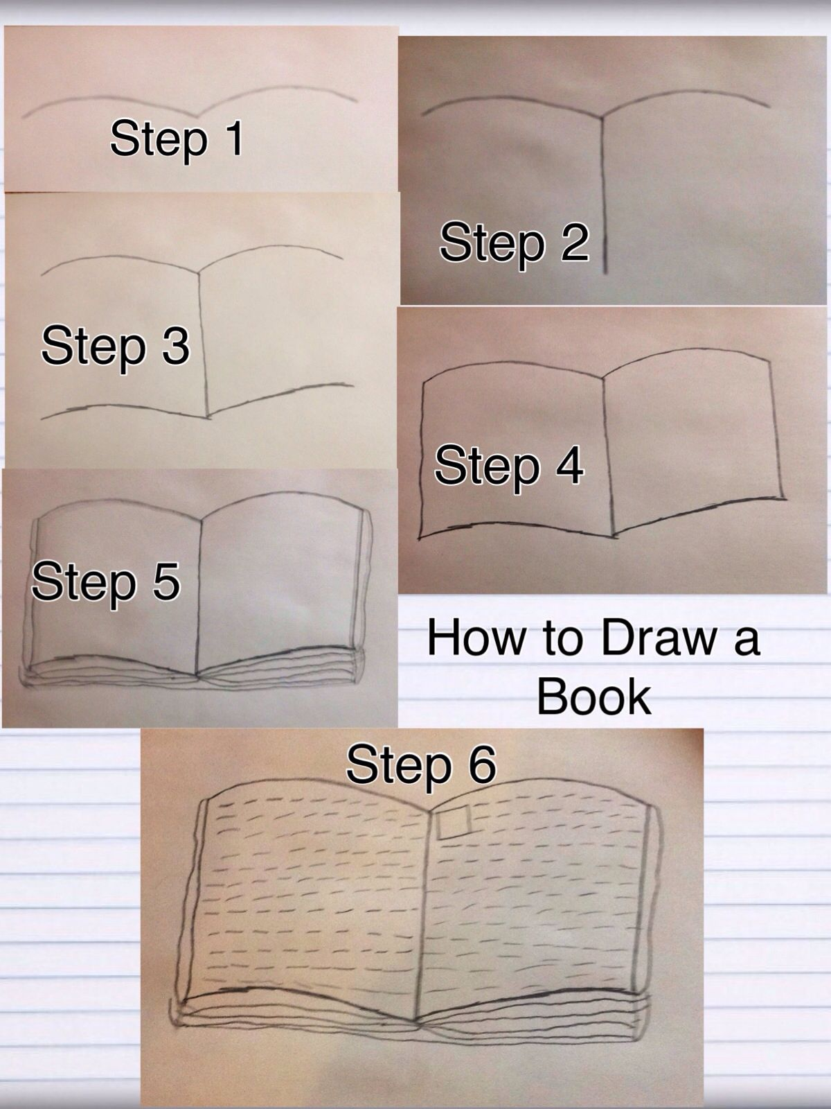 Open Book Drawing Easy : drawing, Steps!, Drawing,, Book,, Drawings