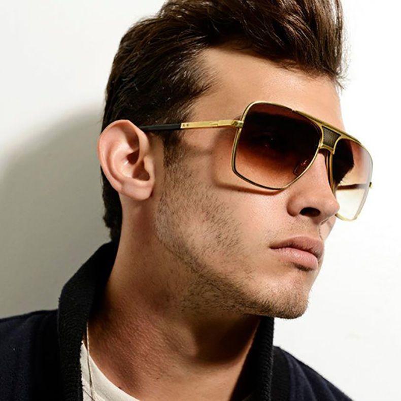 c84ee9d265 Large Square Aviator Classic Metal Bar Designer Men Retro Fashion Sunglasses   Unbranded  Rectangular