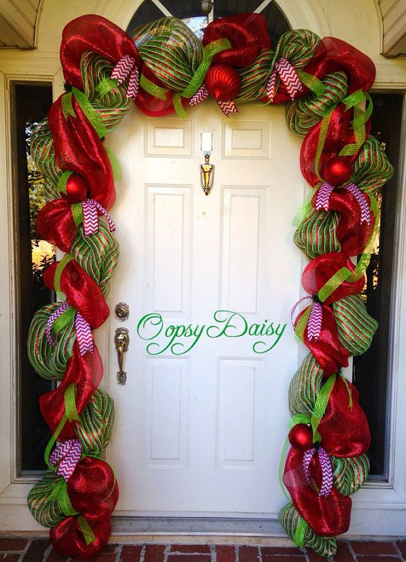 christmas garland door swag cheistmas deco by oopsydaisydesigns - How To Decorate A Staircase For Christmas With Deco Mesh