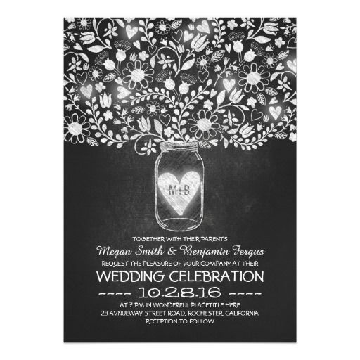 Mason jar and chalkboard flowers wedding invites