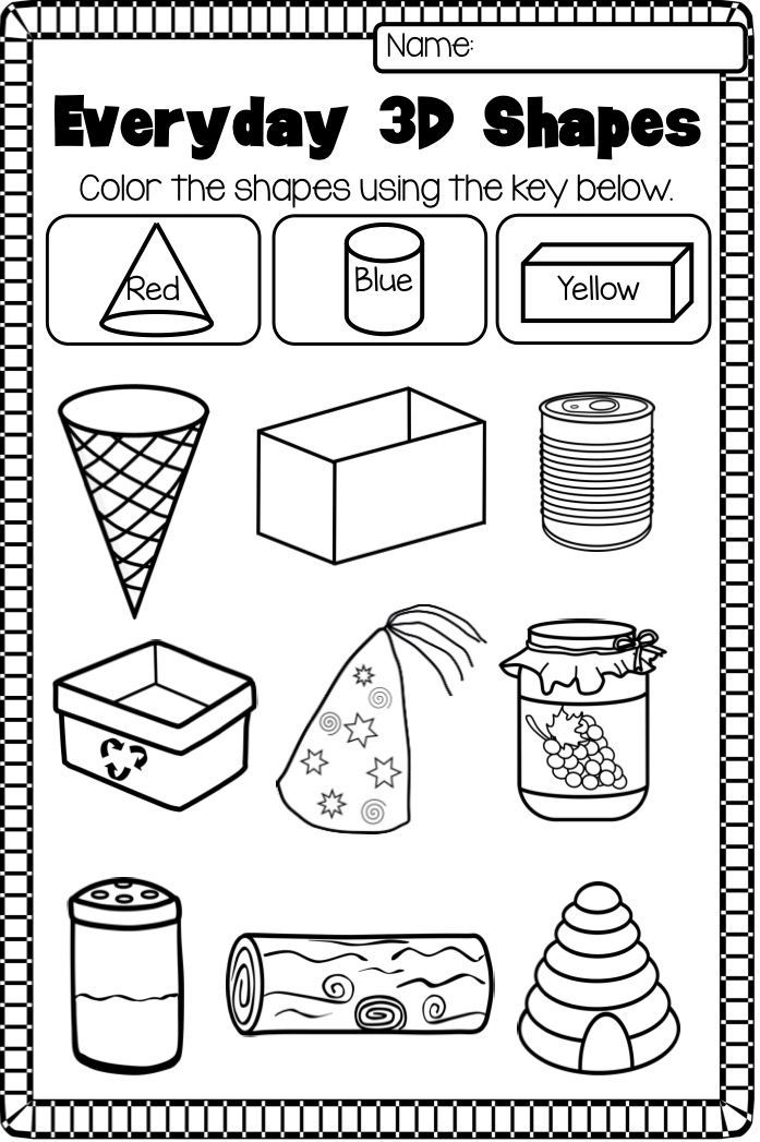 3D Shapes Printable Worksheet This 2D and 3D Shape Pack contains – Worksheet on Shapes for Kindergarten
