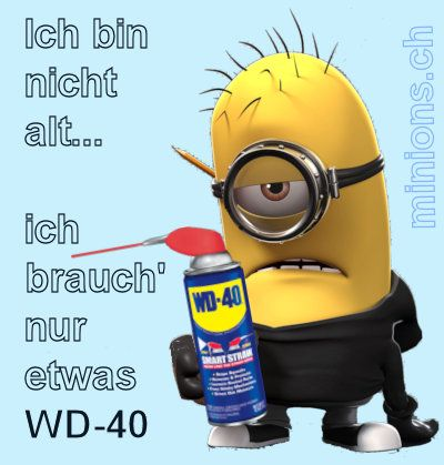 ich bin nicht alt ich brauch nur etwas wd40 minions. Black Bedroom Furniture Sets. Home Design Ideas