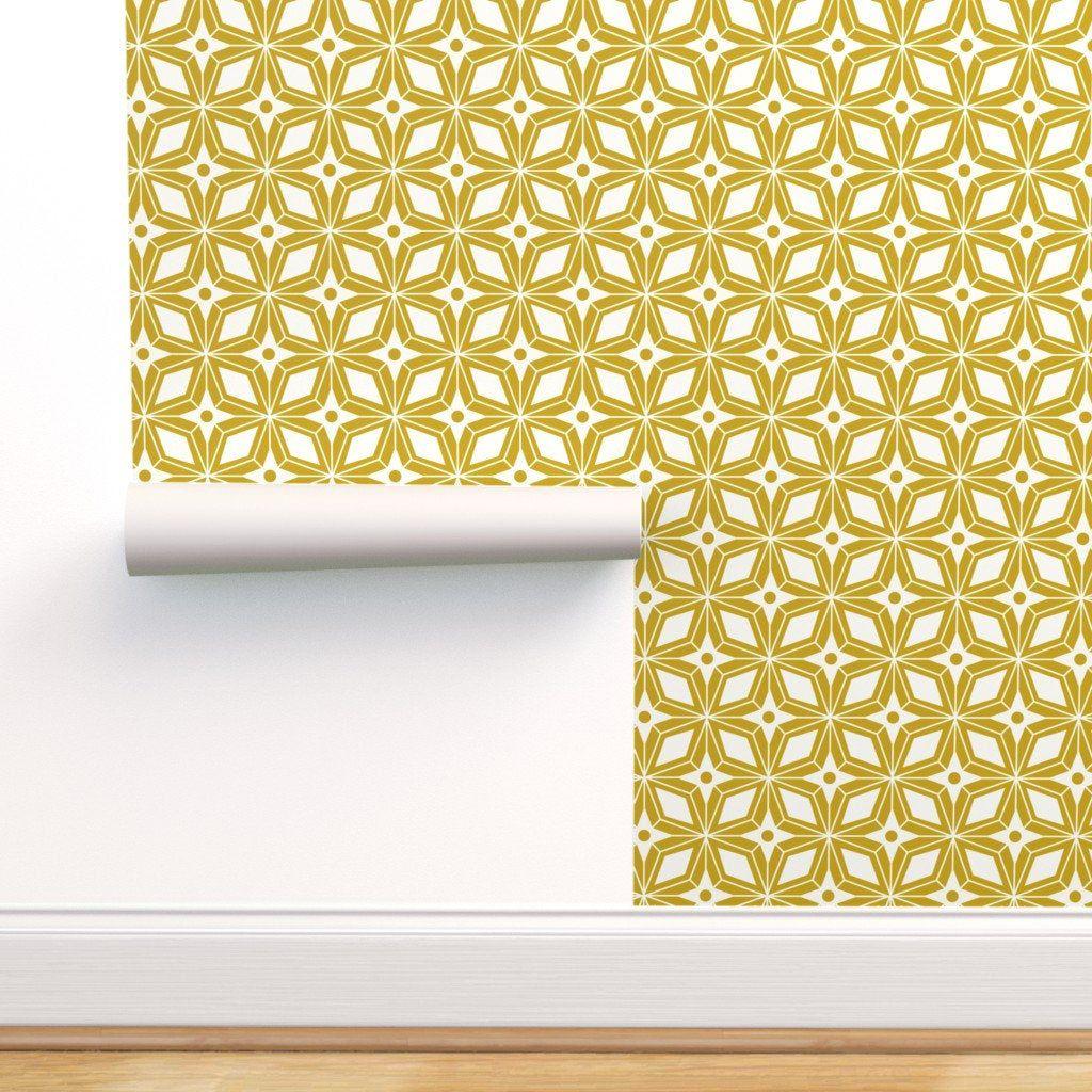 Starburst Tile Wallpaper Starburst Mod Yellow By Etsy Tile Wallpaper Self Adhesive Wallpaper Peel And Stick Wallpaper