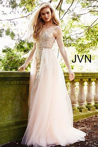 Blush Embellished Plunging Neck Column Prom Dress JVN41677 #Jovani ...