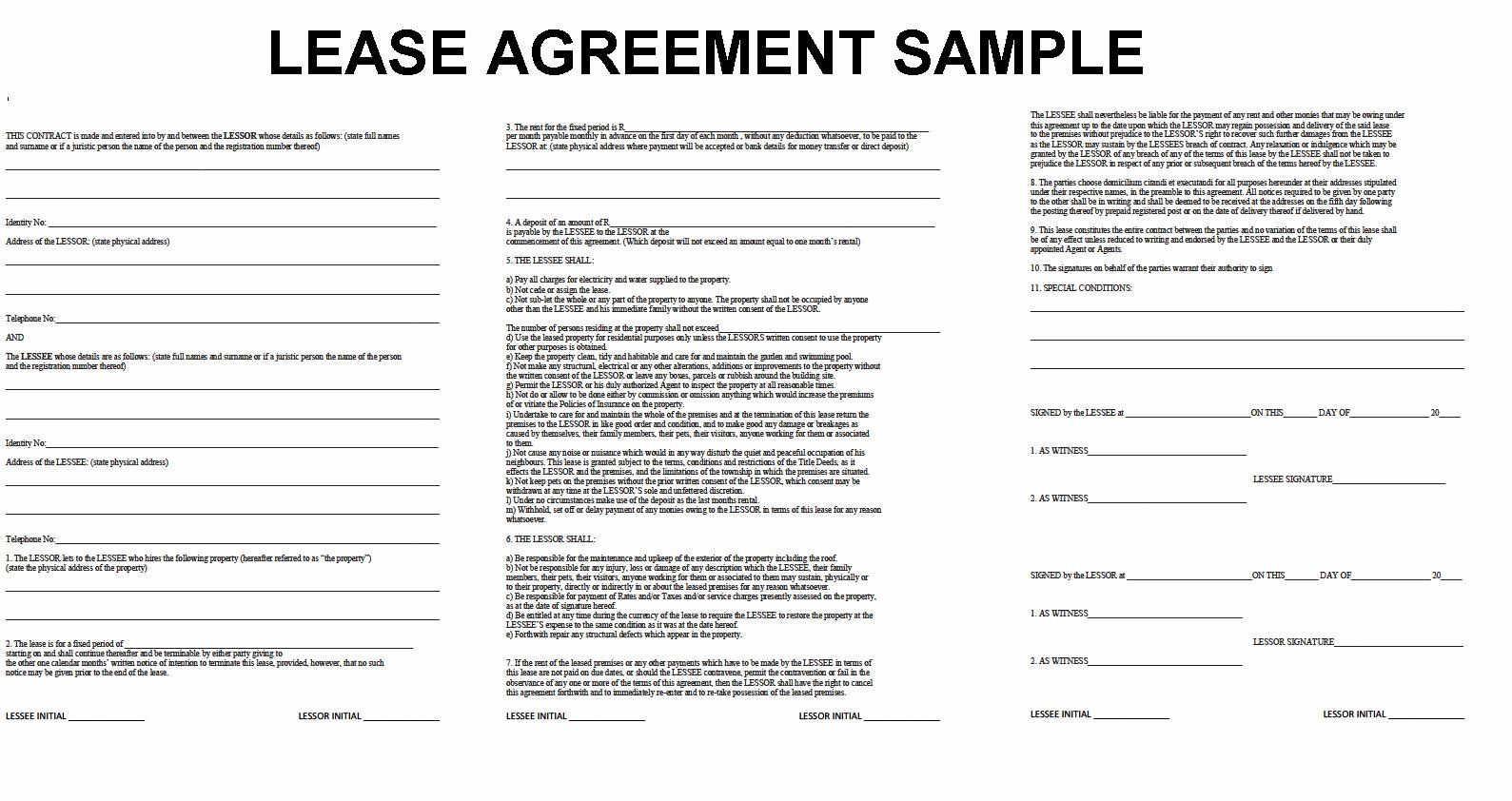 Ms Word Rental Agreement Template Lovely Lease Agreement