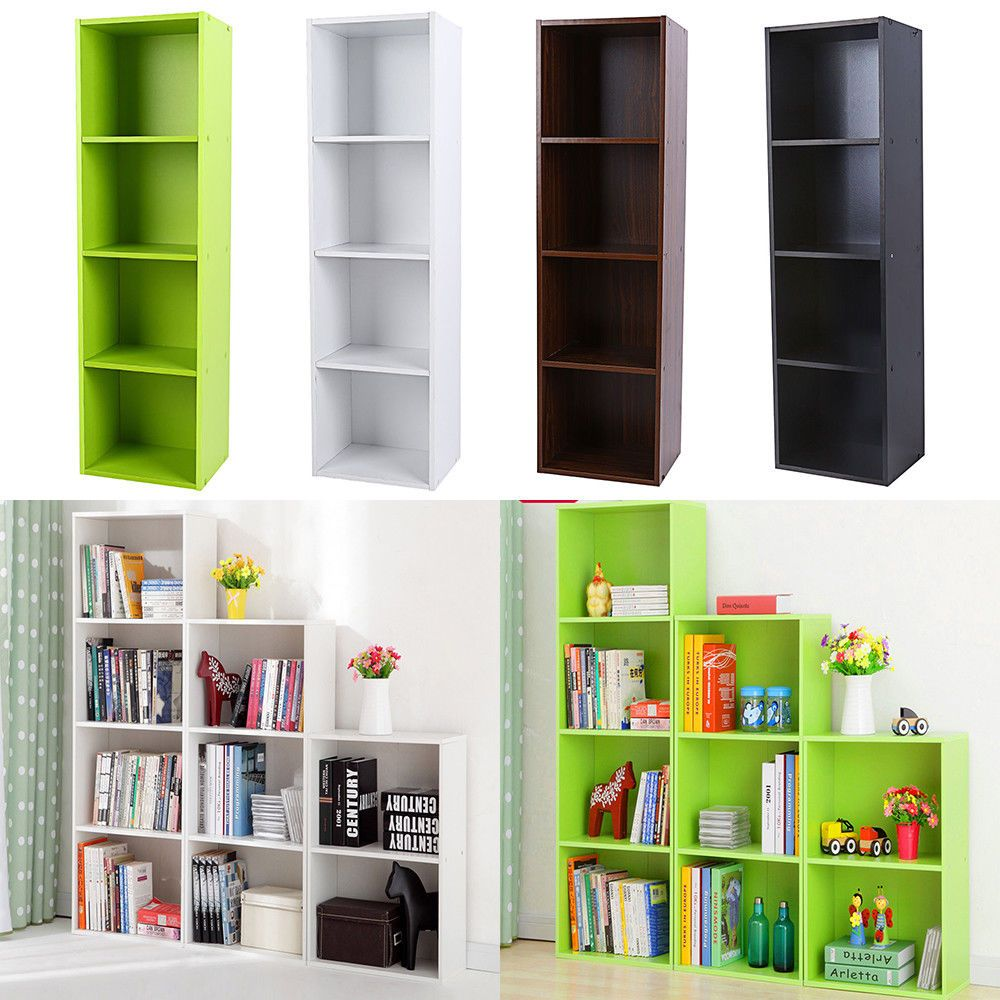 3 4 Shelf Bookcase Storage Bookshelf Wood Furniture Adjustable