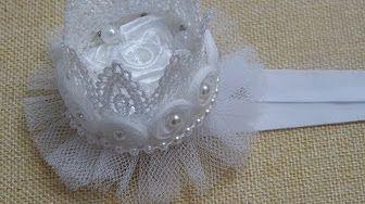 Como Hacer Corona de Encaje y perlas / Tiara Para Niñas/Tutorial Corona de Flores listón FloresyMoños Faciles - YouTube