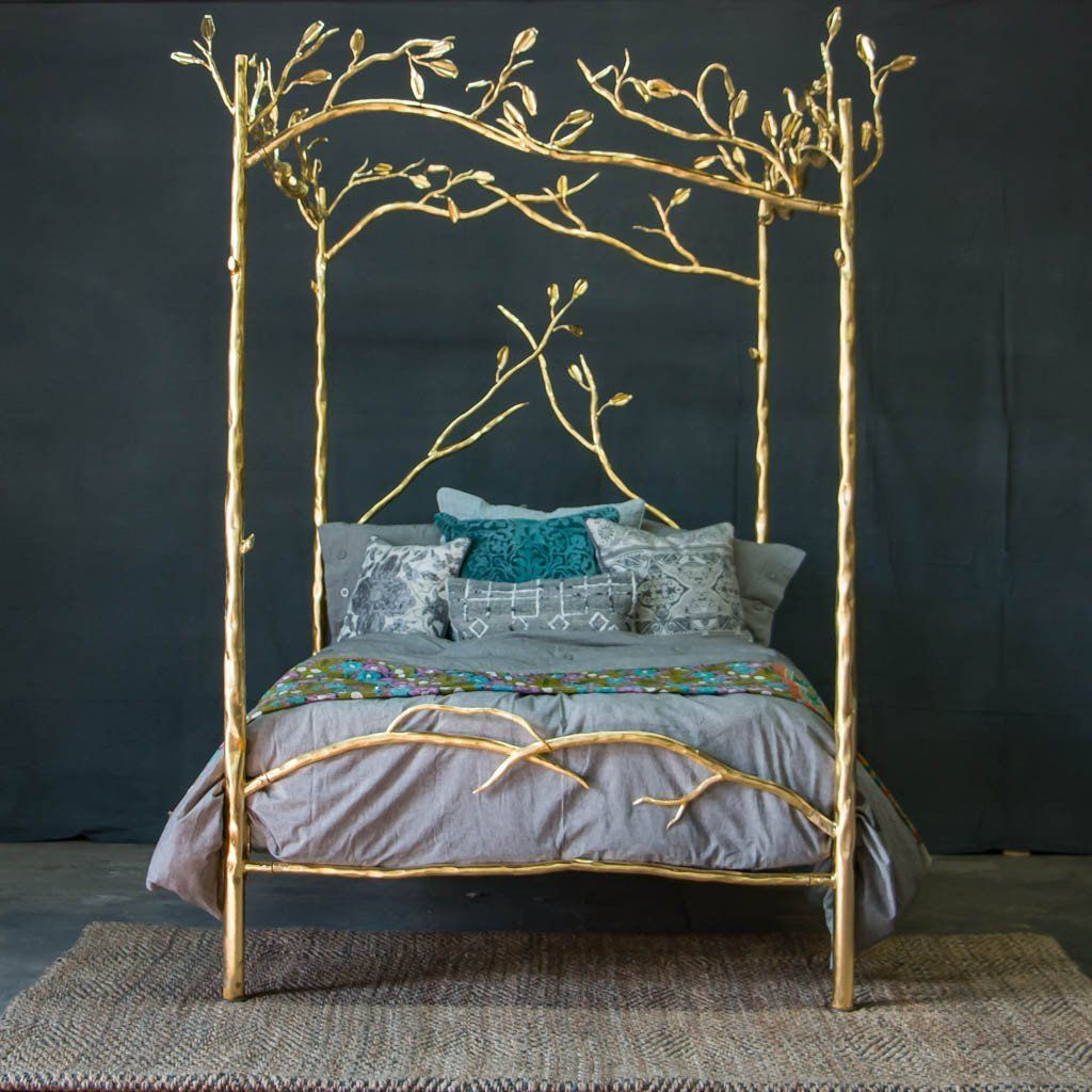 - Forest Canopy Bed - 24k Gold Gold Bed, Canopy Bed, Gold Bedding Sets