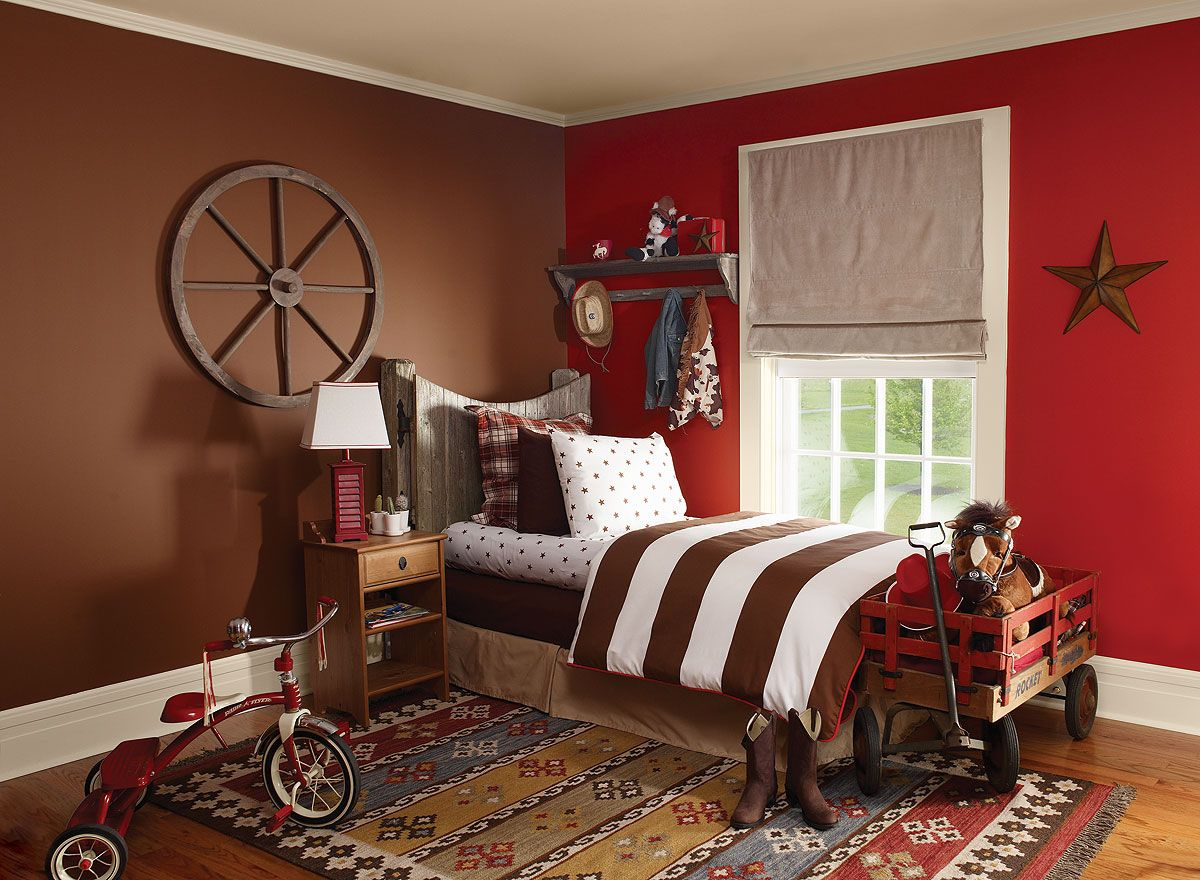 Rodeo Red Kidsu0027 Room   Smoldering Red 2007 10 (wall), Chocolate Truffle  2096 20 (accent Wall), Ivory Tusk 2153 70 (trim)