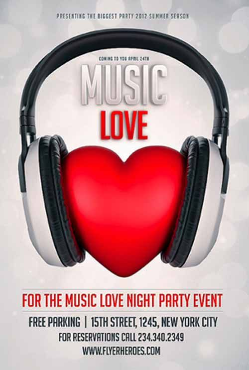 Music Love Free Flyer Template - http\/\/ffflyer\/music-love - love templates free