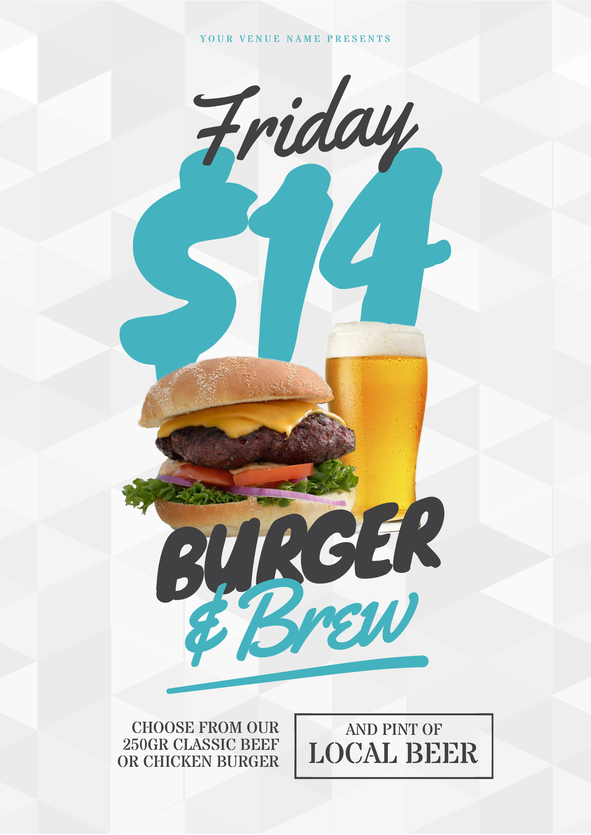 Meet Easil. Your DIY Design Secret Weapon. #posterdesignsoftware Burger and Brew poster template. Our professionally designed templates can be updated in your browser - no design software or experience required! Start free trial of 'Plus' for 30 days - easil.com #hospitality #bar #templates #promotions #posterdesignsoftware