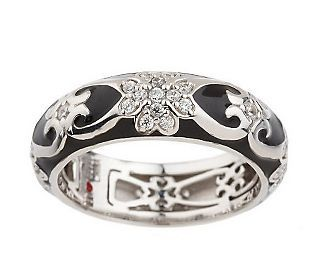 Fine Jewelry Personally Stackable Cubic Zirconia and Enamel Flower Ring gOiy43O