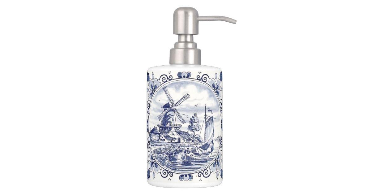 Cute Vintage Dutch Windmill Sailboat Delft Blue Bathroom Set