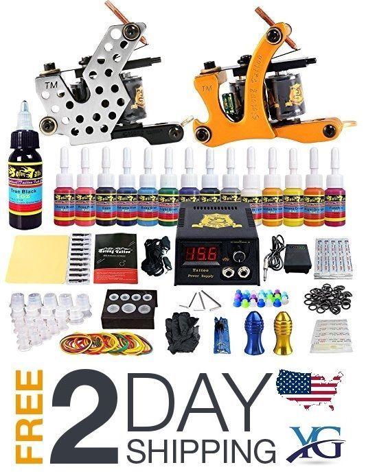 Tattoo Kit 2 Complete Starter Beginner 2 Pro Machine Guns 14 Inks ...