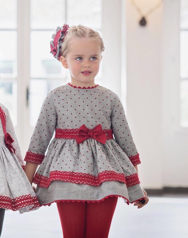 9ae489aa9 Vestido Gris Topos Rojos Vestido Infantil